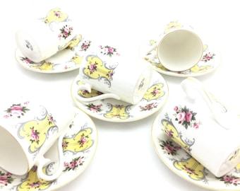 Royal Albert Bone China England. Coffee Cup and saucer. Set of 5 PCs. Yellow. Vintage Royal Albert Cup and Saucer. Yellow.