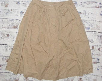 Size 10-12 W29 vintage 80s midi gathered pocket peasant skirt taupe (GT93)