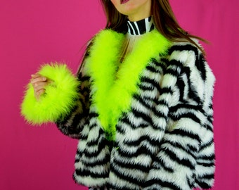LONG Sassy Zebra Print Faux Fur Winter Jacket (Knee Length Option)