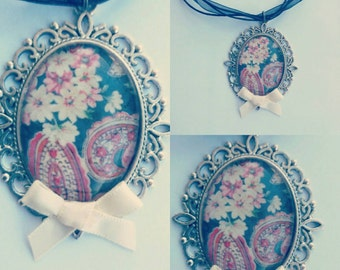 Romantic floral medallion on organza cord necklace