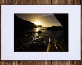 Photographic Art Print of Cave / Cove in the Setting Sun of Ibiza