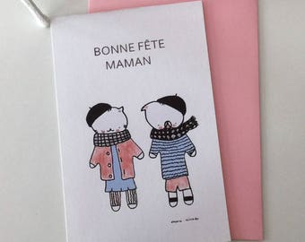 "postal card mother's day ""Choumi et Michou : ""bonne fête maman"""