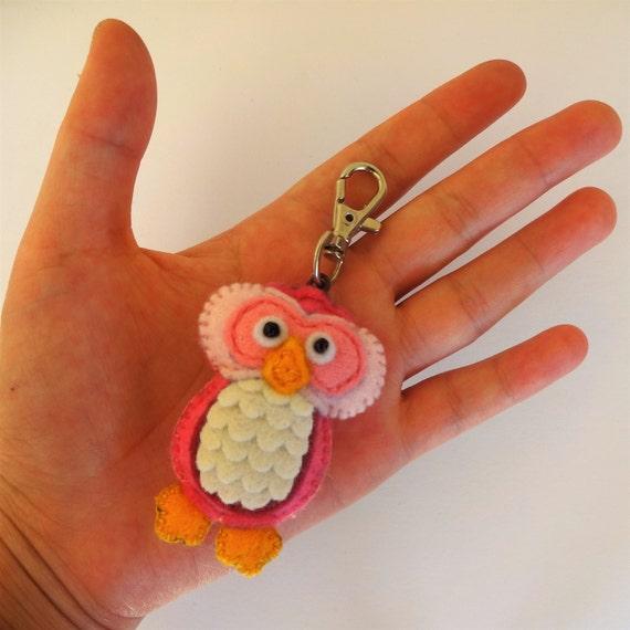 Rose Pink Owl Keychain