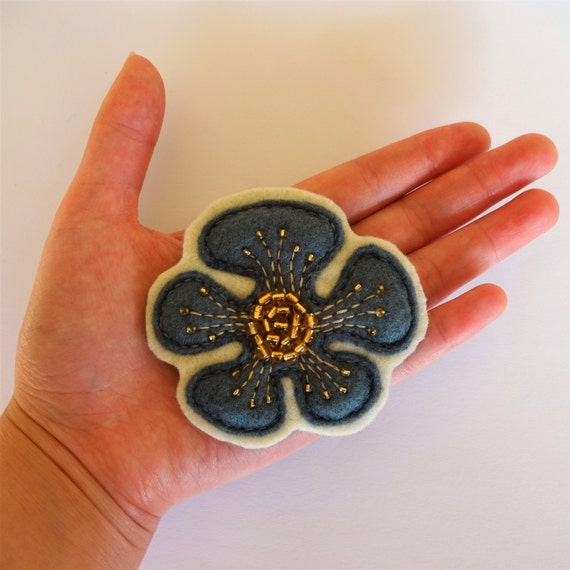 Earl Grey Poppy Flower Brooch