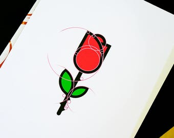 Rose print, cool digital print, logo print, nice print for wall, golden ratio print, beauty and beast print, cool illustration, cool poster