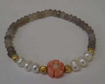 Bracelet Labradorite SW bamboo coral beads