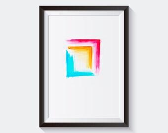 Watercolor Print. Printable art. Minimal and modern Print. Watercolor Printable Wall Art. Bright and Colorful Print. Geometry Print.