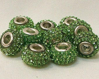 Large Hole Beads in Light Green-set of 10-#2-4a