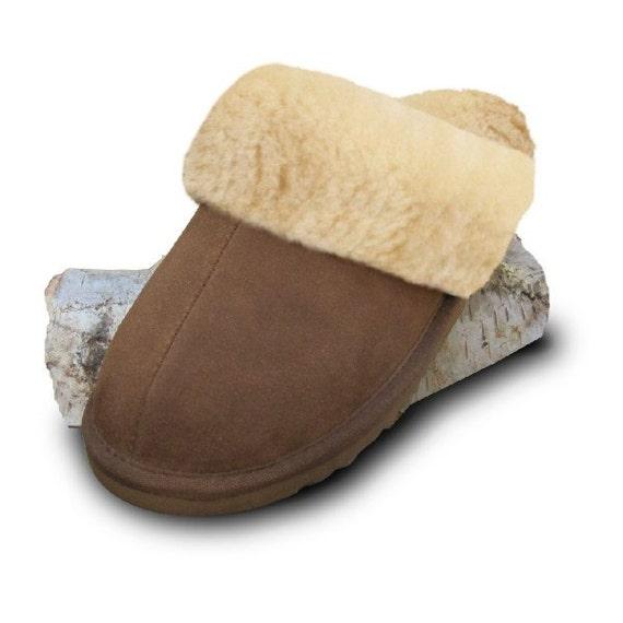 Lambskin slippers open brown