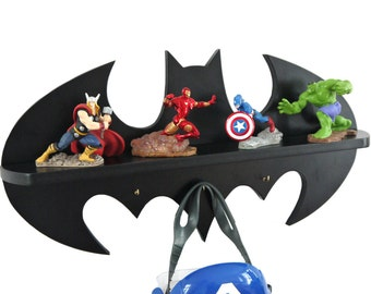 Birthday Valentine's Day Gift Batman logo Wooden shelf / hook children's bedroom decorative