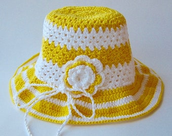 Girl's Summer Crocheted Hat,/ Girl's Crocheted Sun Hat/ Sun Hat