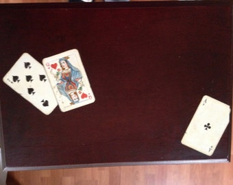 queen anne hand painted side table Trompe-l'œil  - playing cards
