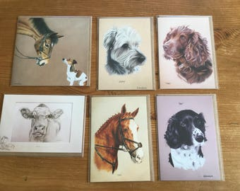 Six Packaged Blank Cards - Dog Animal Designs -  Funds Donated to Greyhound Rescue - Greyt Angels