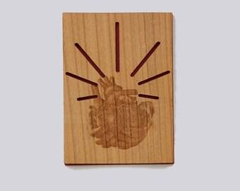 Wooden heart gift postcard