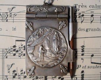 Antique French Art Nouveau Dance Card Lourdes Fleur de Lys c1910