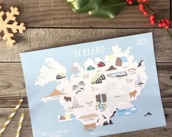 Map illustrated of Iceland-Illustrated map of Iceland