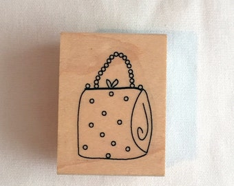 Rubber Stamp - Cute Vintage Purse - From Enless Creations Inc - Wood Mounted Stamp - NEW - Never Used