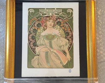Mourlot Estate Art Nouveau Lithograph by Listed Artist Alphonse Mucha