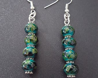 Green, black & silver beaded earrings