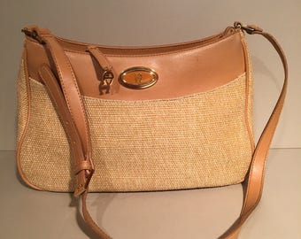 Vintage / Etienne Aigner Purse  / Handbag / Pocketbook - Tan & Beige Women's Sholder Bag