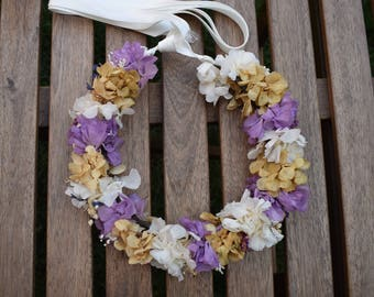 Preserved hydrangeas lilac Crown | Preserved floral purple headcrown