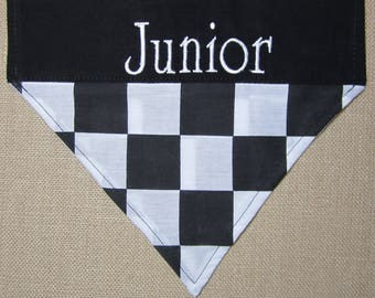 Personalized Checkered flag dog bandana/Over the collar racing bandana/Puppy checkered bandana/ Black dog scarf/slip over the collar