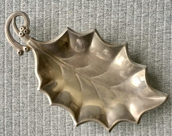 Leaf Tray HUGO Silver Plated Small Vintage Change Dish Serving Tray