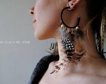 """Earrings """"Feather drop"""" // Handmade jewelry, feather earrings"""