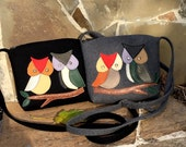 Hand-made crossbody bag with leather owls applications