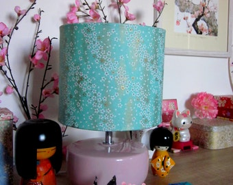 Lamp Japanese Floral Turquoise Jade gold cherry pattern