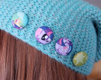 Twilight Sparkle - My Little Pony fabric button/pin set - set of 4 small pins