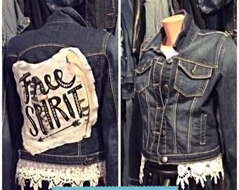 One of a kind free spirit Jean jacket