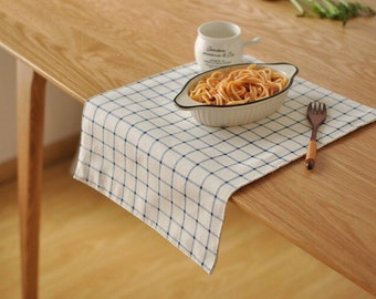 Blue grid linen table runner, basic linen table runner, soft linen fabric, Dining table runner