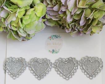 Silver Heart Lace Headband, Silver Lace Halo, Lace headband, Valentines Day Headband