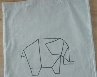 Jute bag origami elephant, hand painted