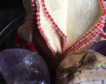 Native American handmade beaded leather tulip medicine bag