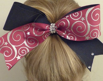 Cheer Bow Black and maroon with silver stars and swirls.