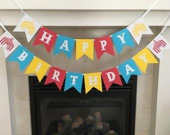 Circus Birthday Banner, Carnival Birthday Banner, Circus Themed Birthday, Circus Decorations, Happy Birthday Banner, Photo Prop, Boy or Girl