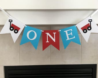Red Wagon One Banner, Red Wagon Birthday Banner, One Birthday Banner, First Birthday, 1st, Photo Prop, Cake Smash, High Chair Banner
