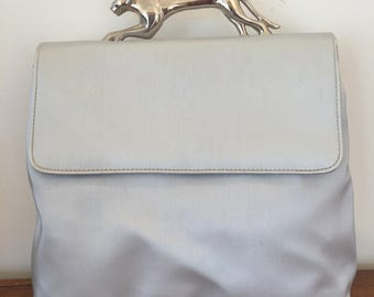 Vintage Silver metal PANTHER handle Bag Crossbody Messenger purse