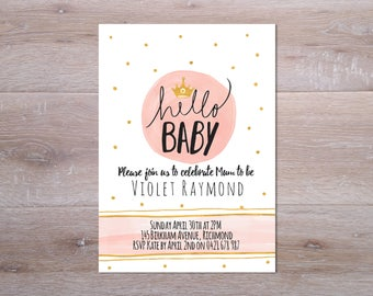 baby shower invitation, I customise for you to print, printable baby shower invitation, DIY Baby Shower, Printable Invite