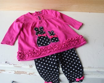 Dress, dress and pants baby girl 6 months sets. Baby clothing.  Children's clothing. French vintage.