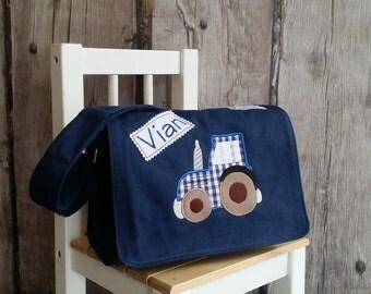 Tractor kindergarten bag vichy diamonds blue