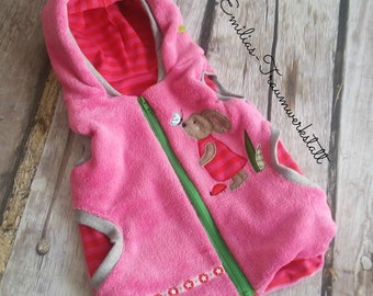 Rabbits vest pink reversible vest hooded 74/80-134 / 140