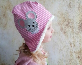 Pink mouse ringing winter hat 38-56 Teddy Plush