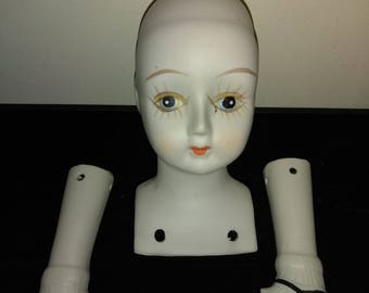 Porcelain Doll Parts - head & legs