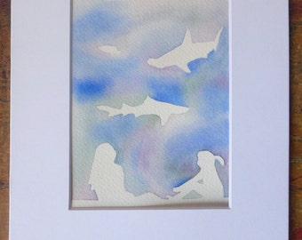 Shark Watercolor Painting, Original Art, Girls with Shark, with mat, Good Cause Item, Girls Room, Shark Lover, Donation, Animal Rescue