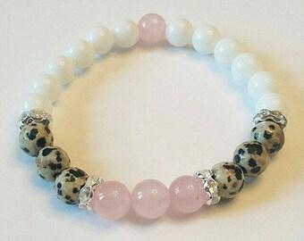 Rose Quartz Dalmatian White Jade Gemstone Beaded Healing Bracelet 8mm
