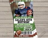 Football Birthday Invitations, customizable, ticket, stubs, all star, kick off, digital file, printable