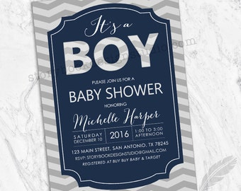 Navy Chevron It's A Boy Baby Shower Invitations , boy, blue, navy, grey, gray, chevron, digital file, printable